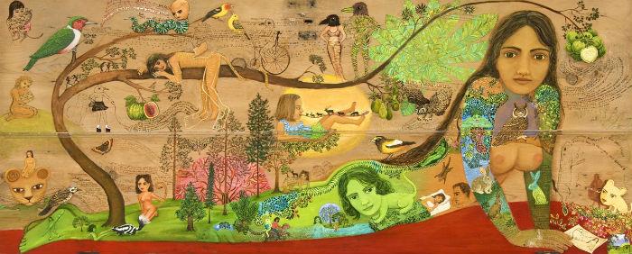 Handful of earth | oil on wooden door |30 1/2 x 75 in. | Irene Hardwicke Olivieri