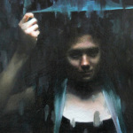 """5_-Bergeron,-Shelter Mia Bergeron, """"Shelter,"""" oil on panel, 10 x 15 in. Private collection"""