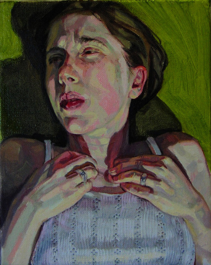 Self-portrait, Outside | 12 x 10 | Oil on Linen | Christina Sealey