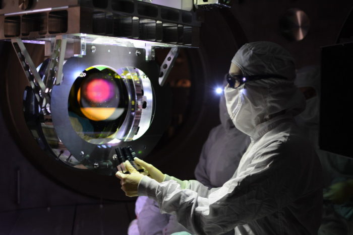 Large optic inspection. Image provided by the LIGO Laboratory