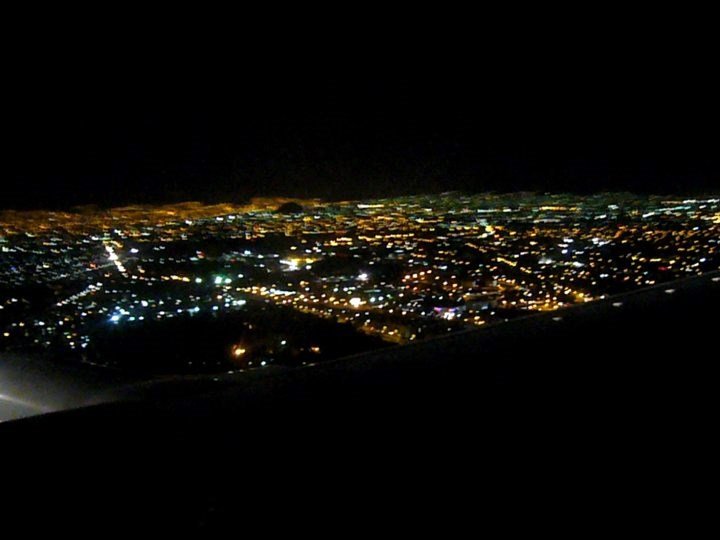 Mexico City by night from a plane