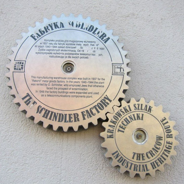 Plaque on the wall of Schindler's former factory.