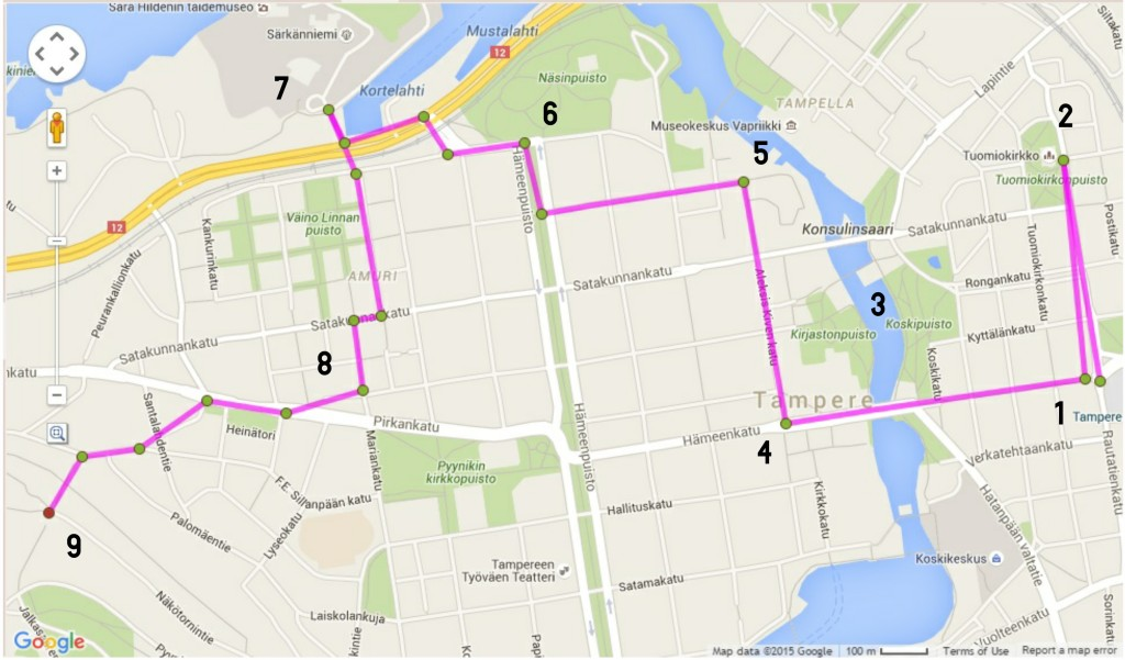 tampere walking route