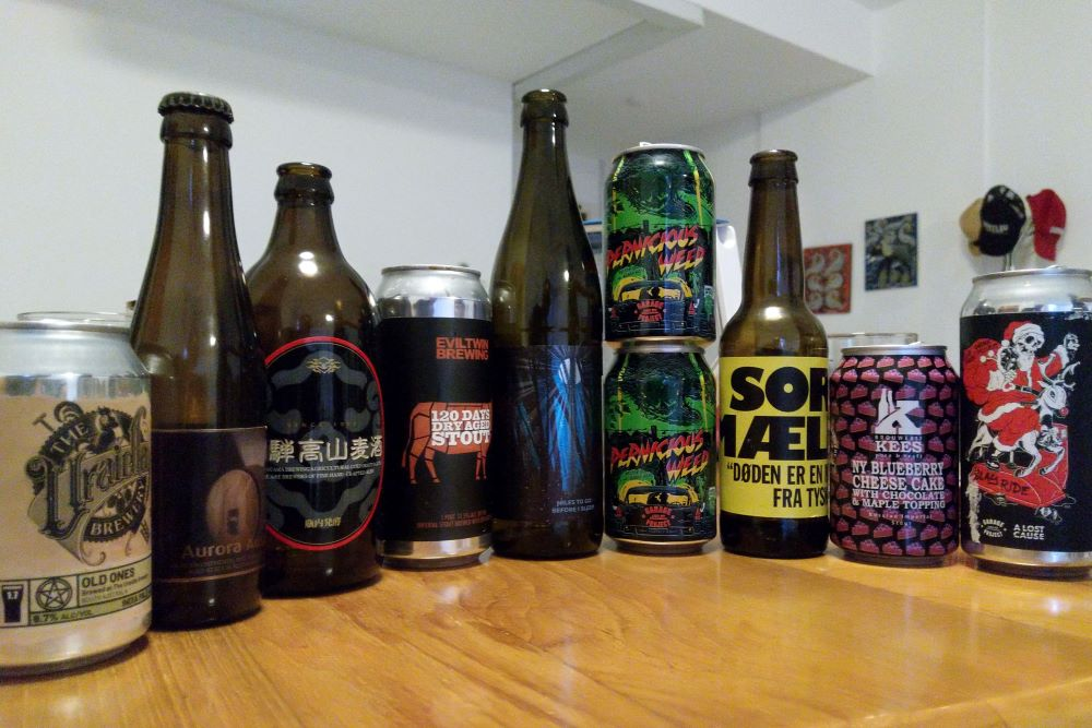 Bottles and cans of craft beer