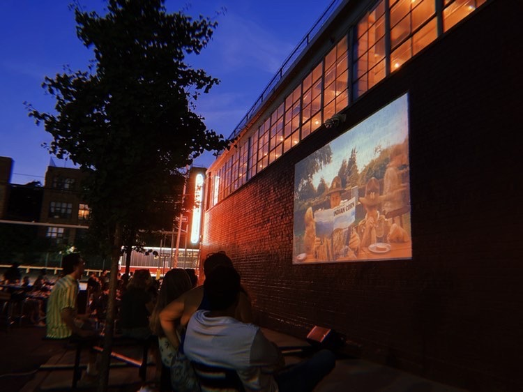 Shot of the Sidewalk Cinema at night showing Wes Anderson's Moonrise Kingdom