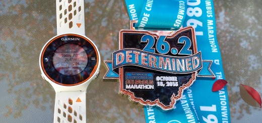 Columbus Marathon finisher's medal and Garmin 620 Watch -- Achieving Millennial