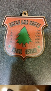 2016 Rocks and Roots January finisher's medal
