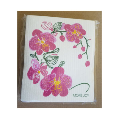 Sweetgum Compostable Cloth - Pink Orchids on White <br>PRICE: $7.00 <br>SKU: 400000002149
