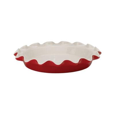 HIC - Ceramic Red Pie Dish Ruffled <br>PRICE: $25.95 <br>UPC: 400000007502