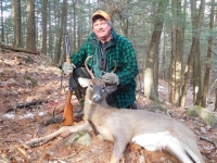2019: ADKHUnter webmaster Dan Ladd with a 5-pointer taken Nov. 30 in northern Warren County with the Iron Sight Gang.