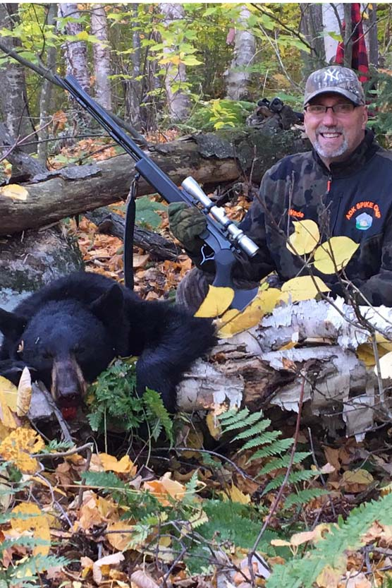 Wade Chandler of Greenfield Center, NY with a 150-pound black bear taken Oct. 15 in Johnsburg, Warren County