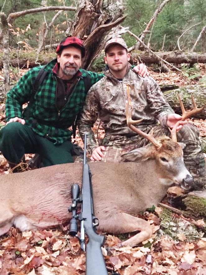 Frank Zembek with son Jason and his 175-pound, 8-pointer taken Nov. 2 in Long Lake, Hamilton County
