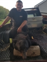 2018: Zack Snell of Parishville, NY with a 120 pound black bear taken in his hometown on September 24, 2018 during the early bear season with a rifle.