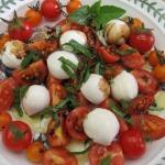 Mini Caprese Salad, Mostaccioli all'Amatriciana, and Lemon Ginger Peach Cake