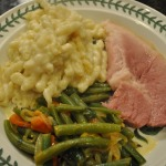 Ham Steaks, Double Cheese and Macaroni, Farmers' Market Green Beans, and Warm Pear Ginger Upside-down Cake