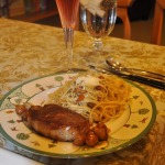 Pork Chops with Carmelized Onions, Beggars Linguine ~French Fridays with Dorie Recipe~ and Apple Cranberry Family Cake