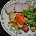 French Roasted Pork and Root Vegetables, Garlicky Crumb-coated Broccoli~French Fridays with Dorie Recipe, and Strawberry Banana Cake