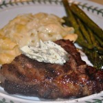 Grilled Organic Rib-eye Steaks with Macaroni and Cheese and Roasted Asparagus