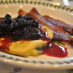 Blueberry-Lemon Pancakes with Blueberry-Lemon Sauce and Bacon