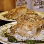 Chicken Marsala over Almond Rice and Sauteed Spinach