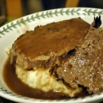 Roast Beef with Tomato and Red Wine Sauce and Sour Cream Mashed Potatoes