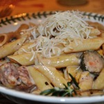 Chicken and Vegetable Mostaccioli with Herb Cream Sauce