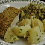 Breaded Baked Halibut, Sauteed Brussels Sprouts with Bacon, and Parsley New Potatoes