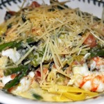 Shrimp and Asparagus Lingiuine with White Wine Cream Sauce