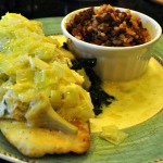Sauteed Sole with Artichoke and Creamy Crabmeat over Sauteed Spinach with Lemon and Leek Butter and Hoppin'John
