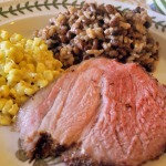 A Southern Dinner ~ Grill-Smoked Pork Shoulder with Spice Rub, Lime & Cilantro Slaw, Creamed Corn with Shallots, &  Hoppin' John