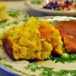 A Southern Supper: Buttermilk Cole Slaw, Ham Steaks, Corn Pudding, and Cheddar Cheese Bacon Biscuits