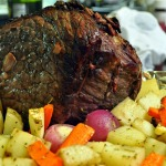 Red Wine Steamed Eye of Round Roast with Root Vegetables