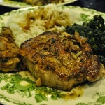Stuffed Pork Chops with Sauteed Spinach and Steamed Rice