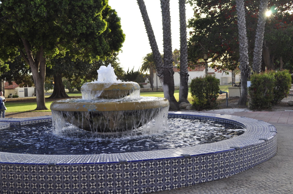 Fountain in front of the San Buenaventura Mission