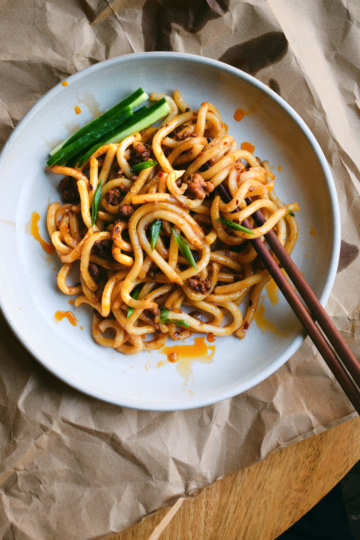 Udon Noodles with Spicy Minced Pork