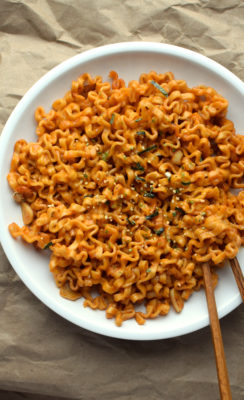 Cheesy Sriracha Noodles