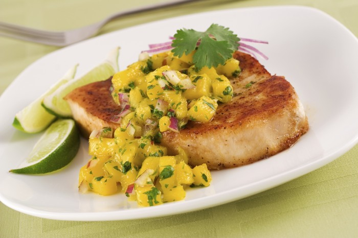 Grilled Halibut with Mango-Lime Salsa