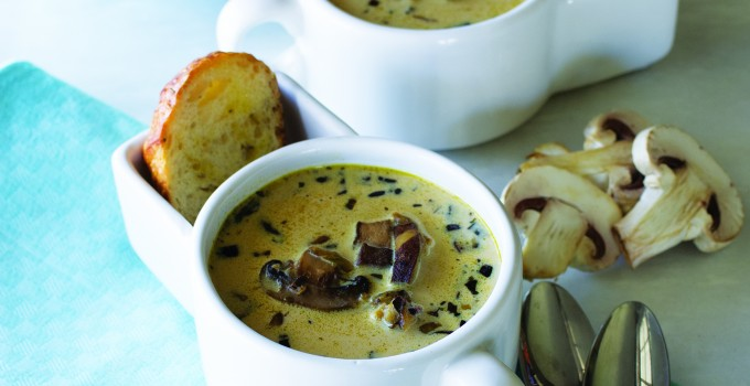 Cream of Mushroom Soup with Sake, Miso and Shiitakes