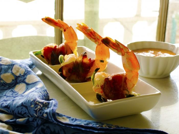 Photoshopped bacon wrapped shrimp slider pic
