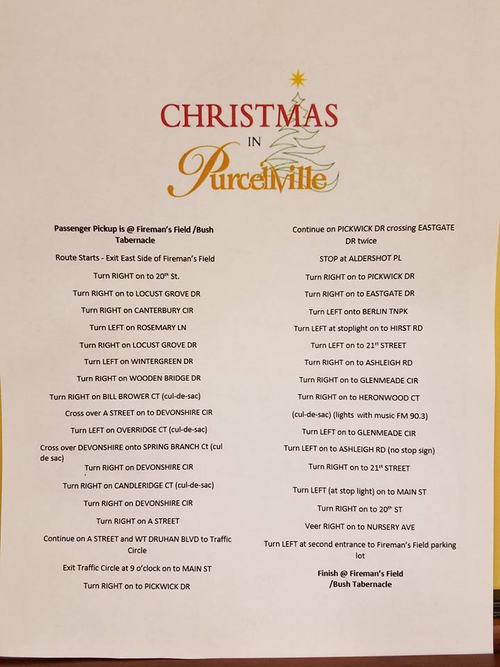 Christmas in Purcellville Directions