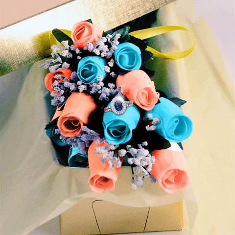 BlueAndCoral_WaxDippedRoses