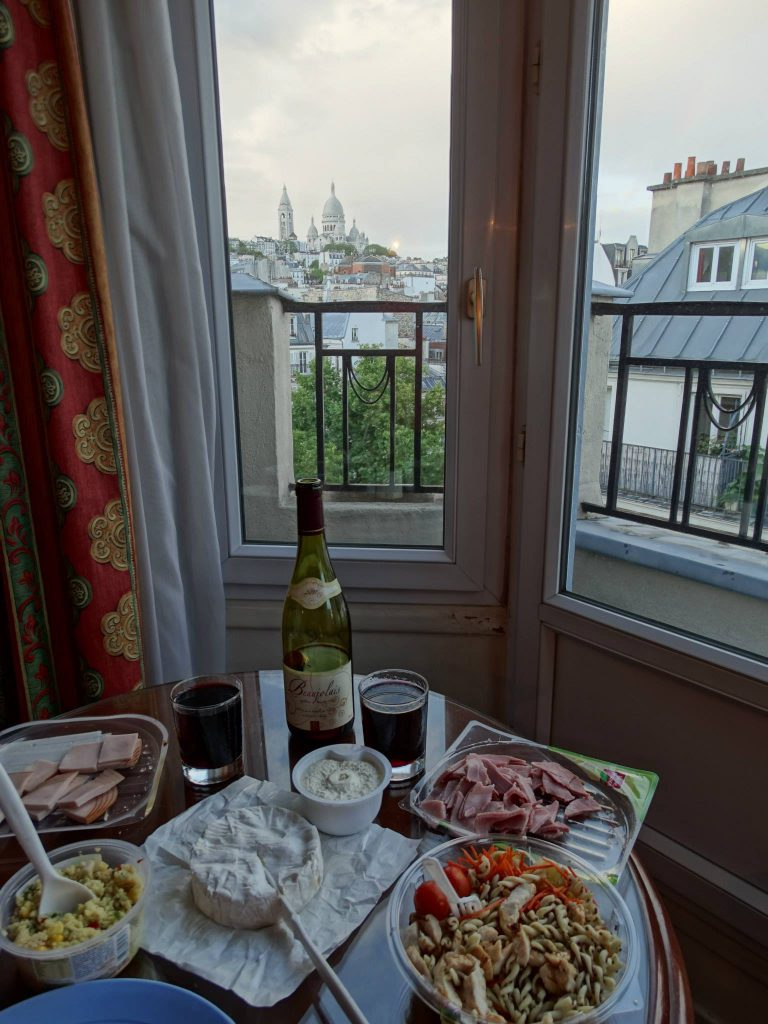 Picnic dinner in our room at Hotel Royal Fromentin