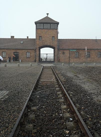 The tracks leading into Birkenau Camp.
