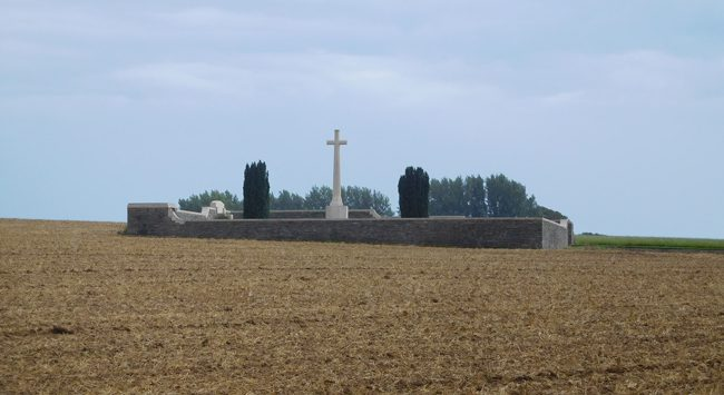 Queen's Cemetery, Puisieux, near the Sheffield Memorial Park...isolated in a farmer's field...like so many others.