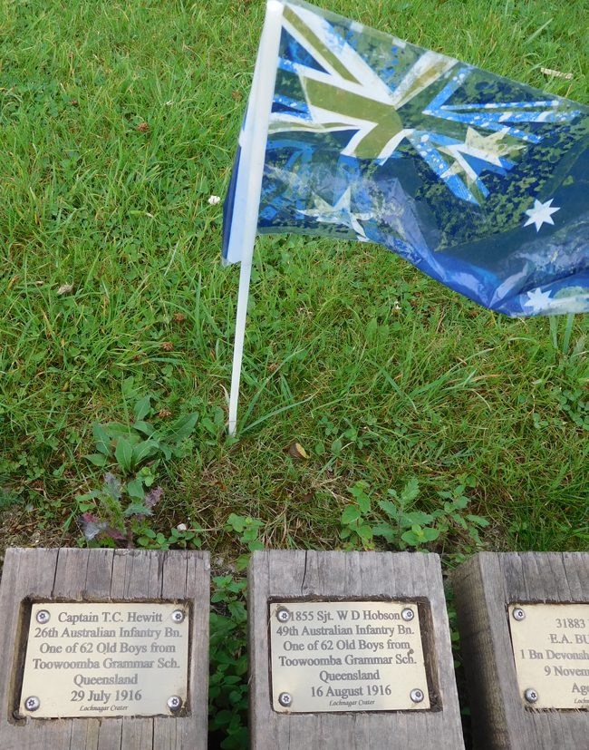 Plaques in the boardwalk at Lochnager Crater to Toowoomba Grammar School old boys...my dad's old stomping ground.