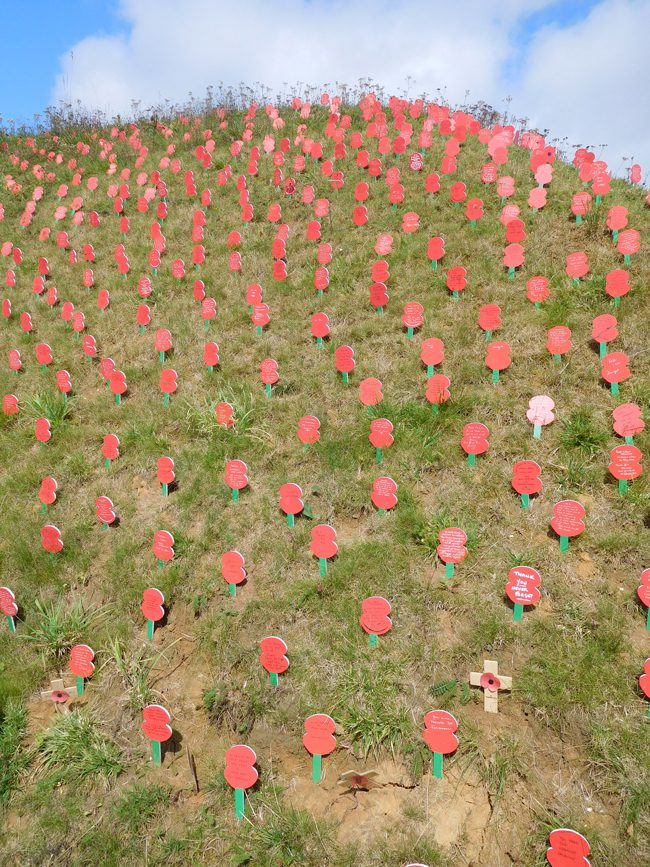 Poppies with handwritten messages to commemorate the 100 years since the battle of the Somme outside the Thiepval Memorial Visitors Centre.