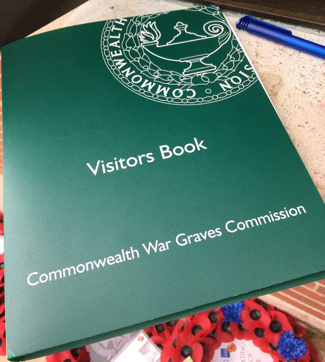 Thiepval Memorial Visitors Book, duly signed.