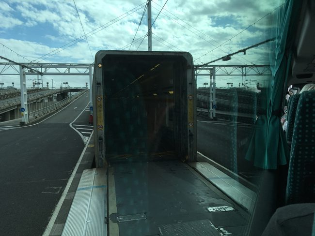 Driving onto the Euro Tunnel train, modern engineering.