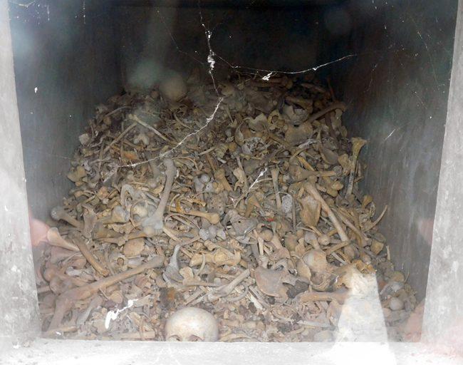 Bones underneath the Douaumont Ossuary in Verdun