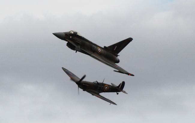 RAF Typhoon & BBMF Spitfire Synchro Pair
